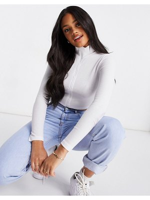 The Kript zip-front long sleeve fitted crop top-white