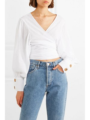 The Line By K oliviera crinkled cotton-voile wrap top