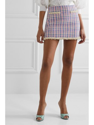 The Marc Jacobs frayed checked cotton-tweed mini skirt