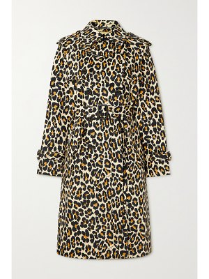 The Marc Jacobs the trench belted double-breasted leopard-print denim coat
