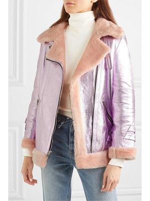The Mighty Company the hayle shearling-trimmed metallic leather bomber jacket