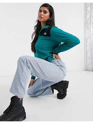 The North Face tka glacier snap-neck pullover fleece in turquoise-green
