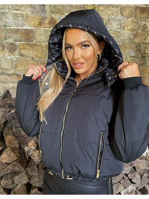 The O Dolls Collection odolls collection reversible padded jacket with faux-fur trim hood in black-blue