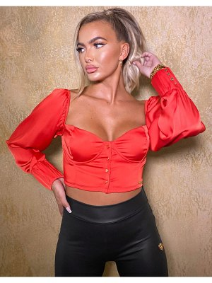 The O Dolls Collection odolls collection satin volume sleeve sweetheart neck crop top in red
