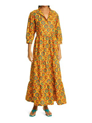 THE OULA COMPANY holiday crown print tiered midi dress in golden red teal at nordstrom