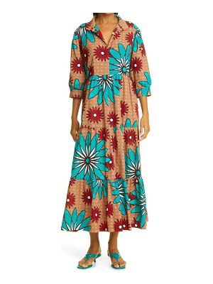 THE OULA COMPANY holiday flower midi dress in sky red latte at nordstrom
