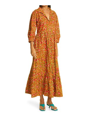 THE OULA COMPANY holiday leaf print tiered midi dress in red green at nordstrom