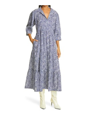 THE OULA COMPANY print tiered dress in blue at nordstrom