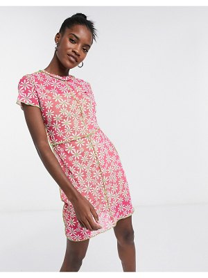 The Ragged Priest bodycon mini dress with contrast seams in daisy print mesh-pink