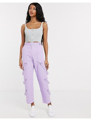 The Ragged Priest cargo pants with straps in pastel-purple