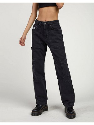 The Ragged Priest combat jeans in black wash denim