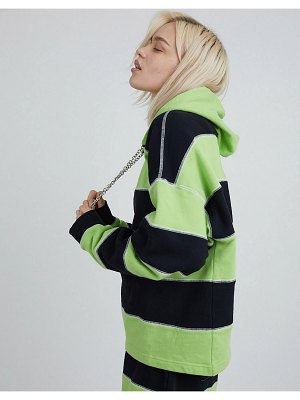 The Ragged Priest coordinating oversized hoodie with chain drawstring and overlocking in stripe-multi