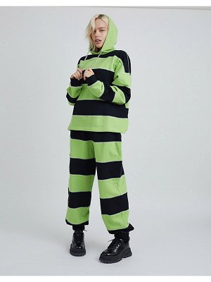 The Ragged Priest coordinating relaxed sweatpants with chain drawstring and overlocking in stripe-multi