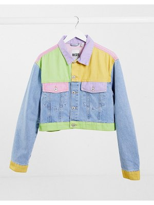 The Ragged Priest crop jacket in pastel patchwork denim co-ord-multi