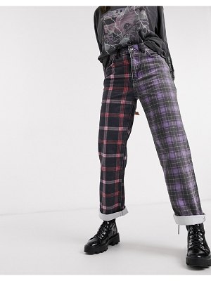 The Ragged Priest dad jeans in half and half plaid denim-purple