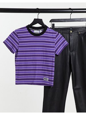 The Ragged Priest fitted t-shirt with logo in stripe-purple