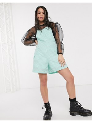 The Ragged Priest romper in mint check-blue
