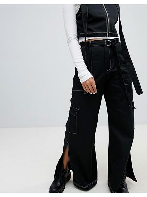 The Ragged Priest Wide Leg Heavy Cotton Pants With Top Stitch Detail And D-ring Belt