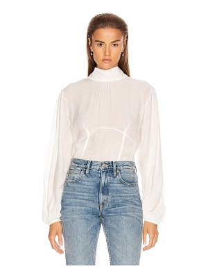 The Range vapor voile corset volume sleeve top