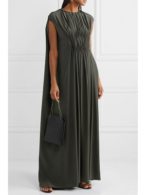 THE ROW antonia cape-effect embellished pleated silk-crepe gown