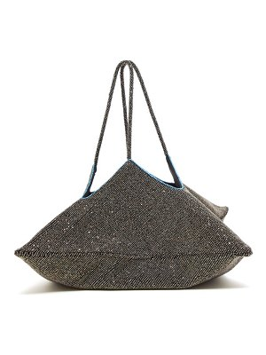THE ROW flat hobo beaded geometric clutch