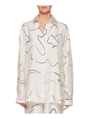 THE ROW Big Sisea Button-Down Long-Sleeve Silk Shirt
