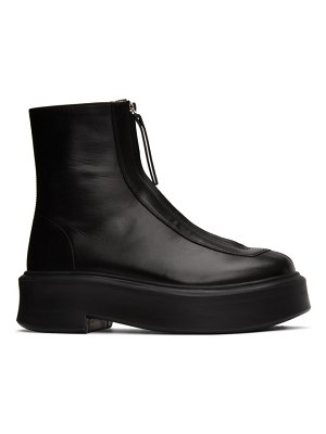 THE ROW black zip ankle boots