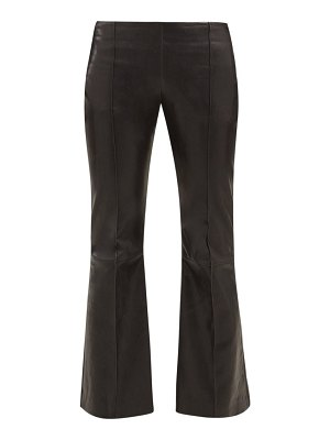 THE ROW cabet leather kick flare trousers