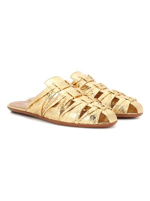 THE ROW Capri metallic snakeskin slippers