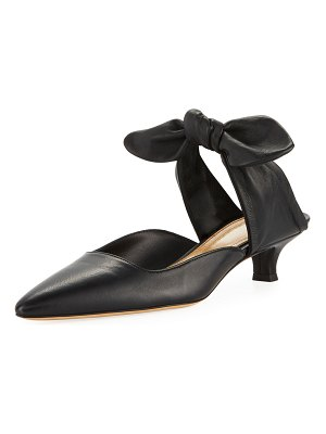 THE ROW Coco Kitten-Heel Ankle-Tie Mules