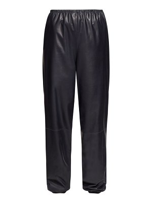 THE ROW dez gathered waist leather trousers