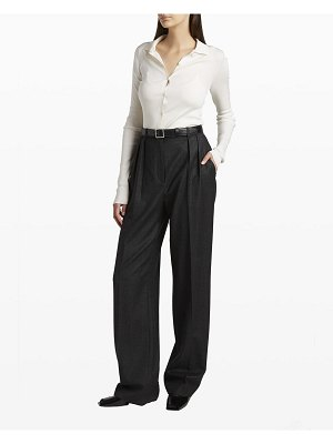 THE ROW Dryan Ribbed Button-Down Top
