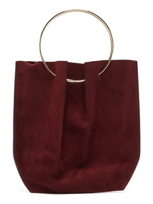 THE ROW flat mini ring-handle suede clutch bag