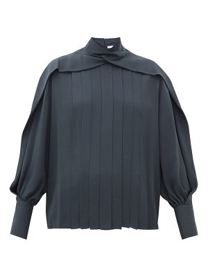 THE ROW gilia pleated silk-georgette blouse