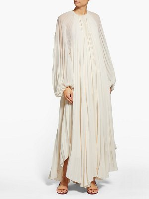 THE ROW martina beaded-neck pleated-crepe gown