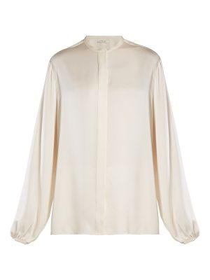 THE ROW Maura stand-collar satin blouse
