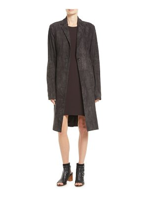 THE ROW One-Button Lambskin Suede Long Coat