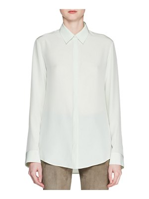 THE ROW Petah Button-Front Long-Sleeve Silk Shirt