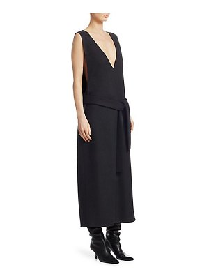 THE ROW plunging wool maxi dress