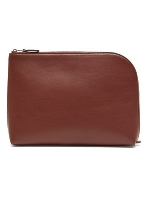 THE ROW square pochette large leather clutch