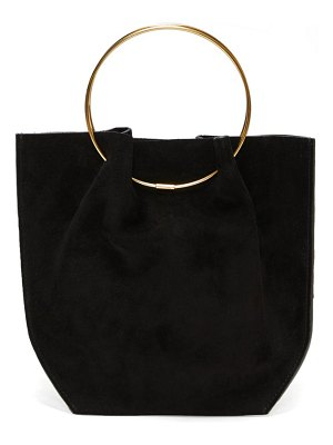 THE ROW ring-handle suede clutch