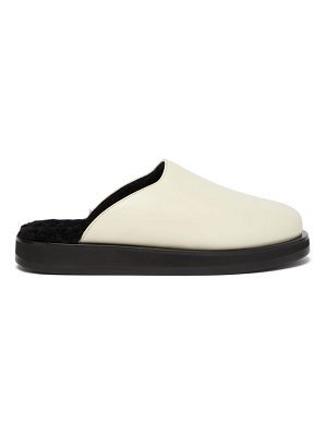 THE ROW sabot backless shearling-lined leather loafers
