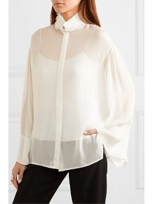 THE ROW sarabee embroidered chiffon blouse