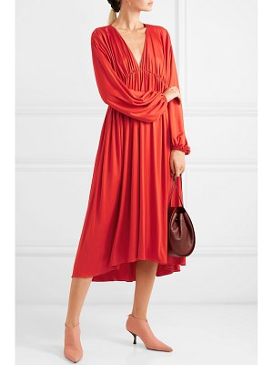 THE ROW sasha gathered satin-jersey midi dress