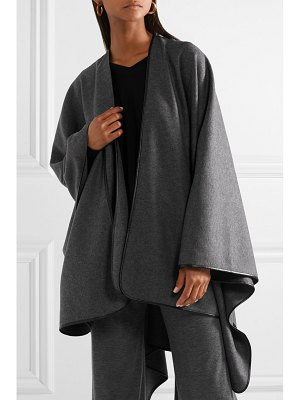 THE ROW shane leather-trimmed wool cape