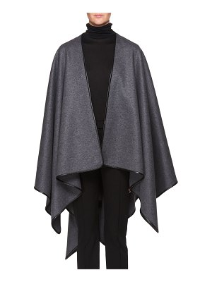 THE ROW Shane Open-Front Wool Poncho with Leather Piping