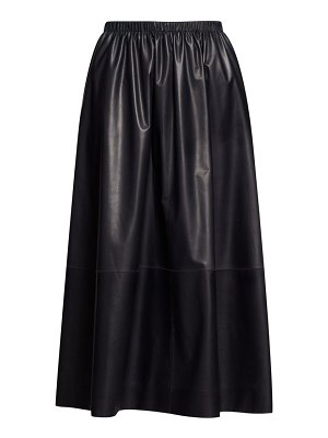THE ROW tilia leather midi skirt