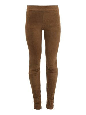 THE ROW tomo suede slim-fit trousers