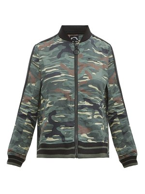 THE UPSIDE army camouflage print linen blend jacket