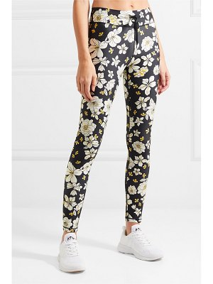 THE UPSIDE peony striped floral-print stretch leggings